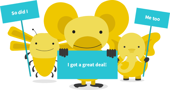 An illustration of 3 of So Energy's tariff animals, a Koala with a sign that reads: I was in the cheapest 10%, an Elephant with a sign that reads: me too, and a Bee with a sign that reads: so was I
